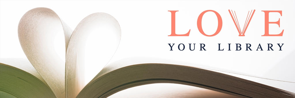 Love Your Library logo above library book